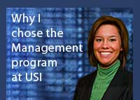 Link to why Chelsea Denhart chose the management program at USI