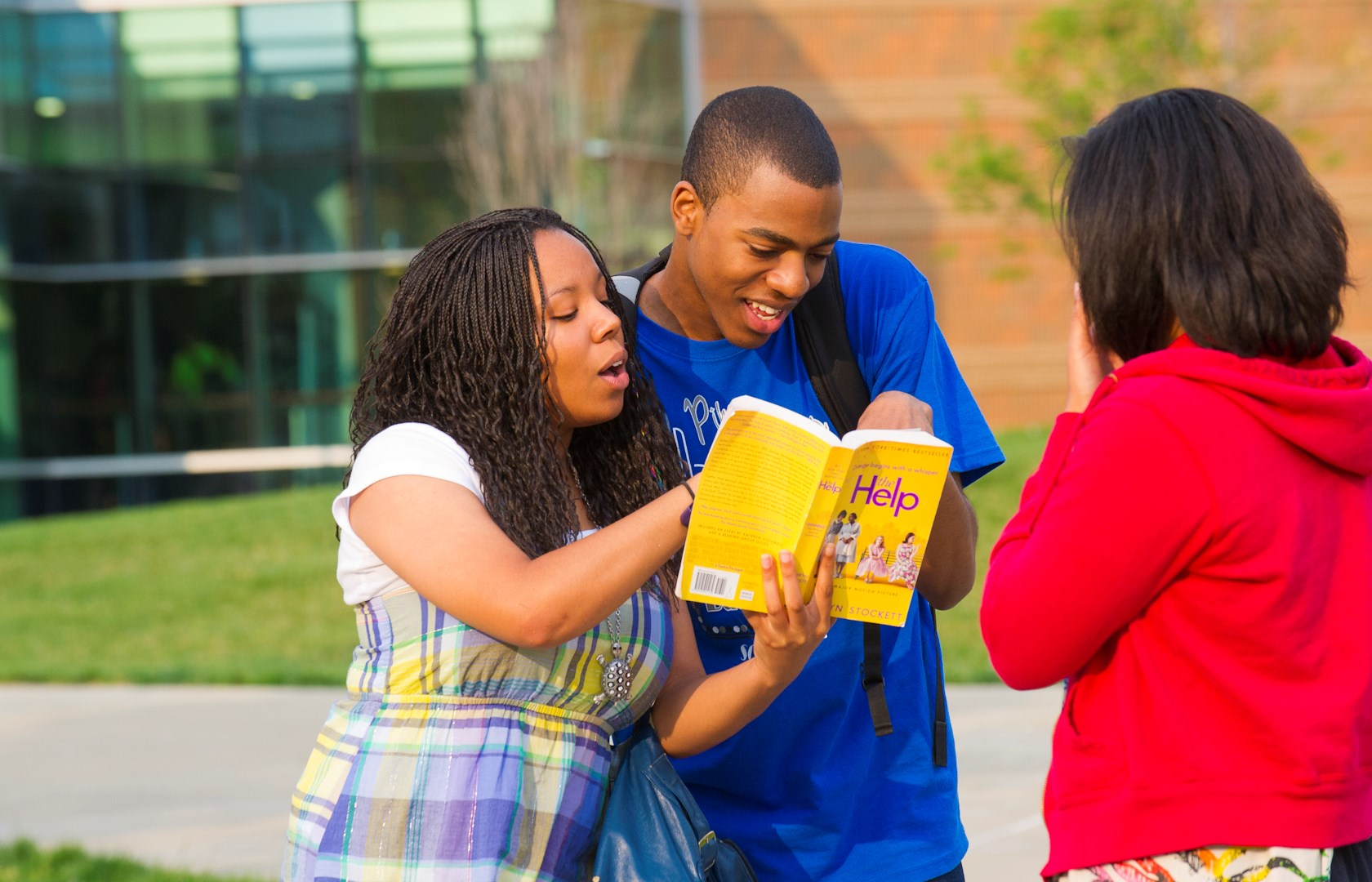 horiz minorities humored by a book on Quad