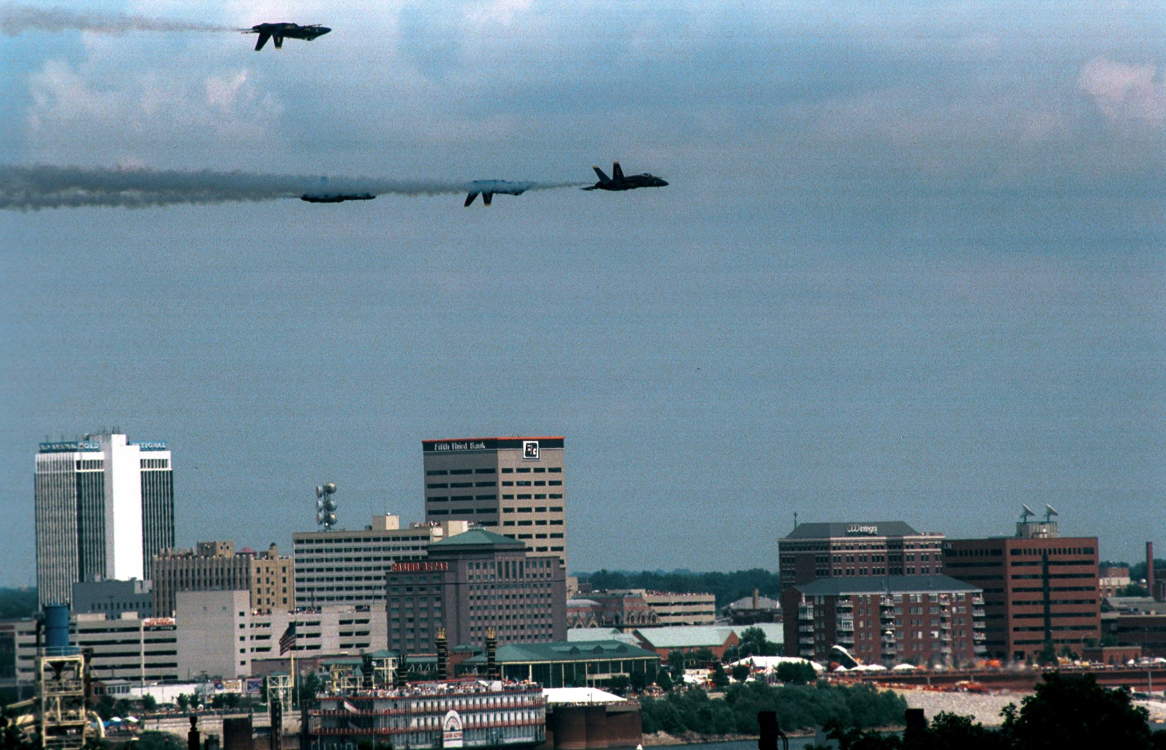 Blue Angels fly manuevers over Evansville