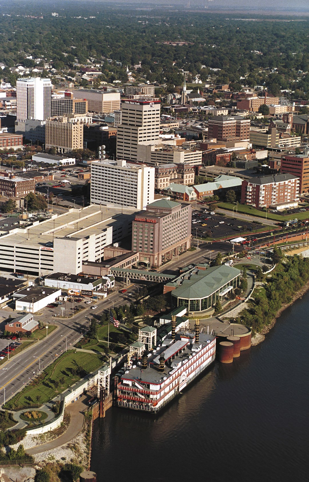 Aerial view of downtown Evansville and Ohio River