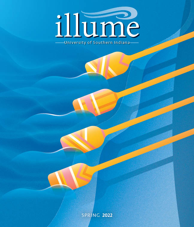 Current issue of Illume cover -- painting of birthday cake slice with candles on it