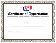 Student Worker Appreciation Certificate