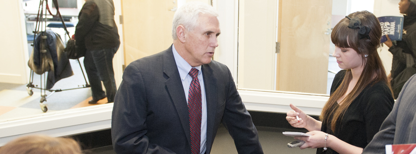 Communications student interviews Indiana Governor Mike Pence