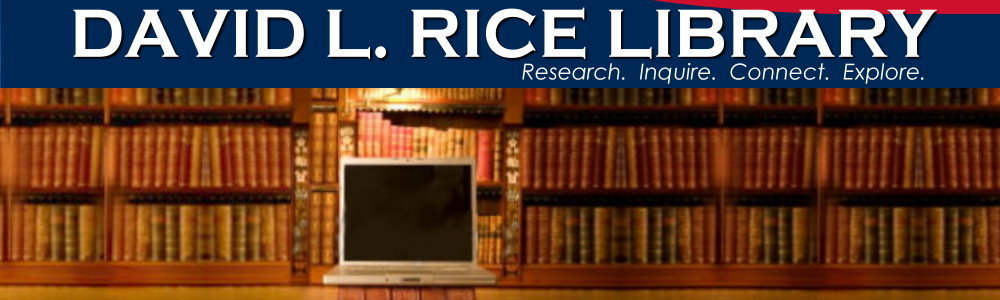 Image of shelved books and laptop below Rice Library logo.