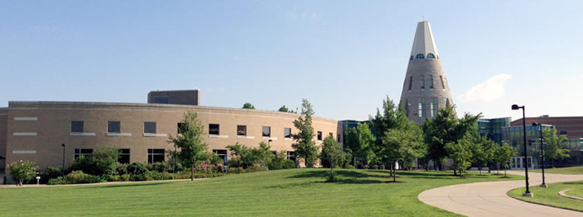 USI university center and trees
