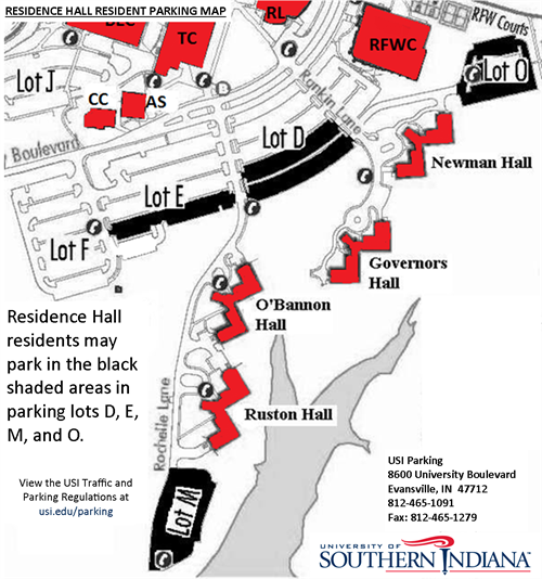 Res Hall Resident Parking Map