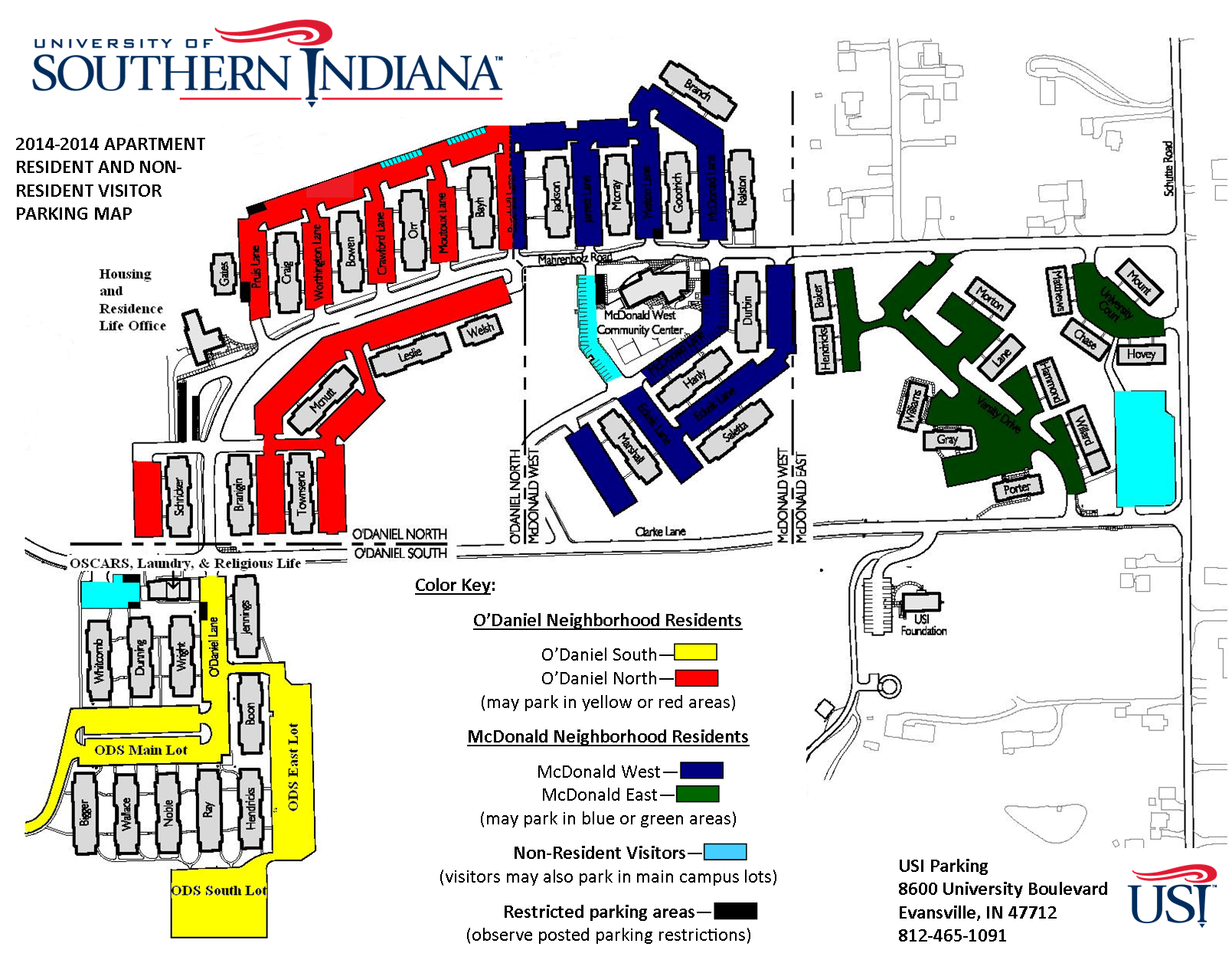 Housing visitor parking university of southern indiana for Apartment complex map maker