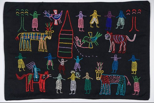 embroidery of seven legged deer like creatures and people