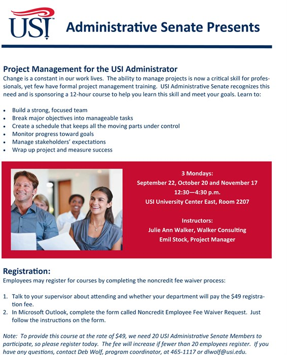 Project Management For The USI Admin