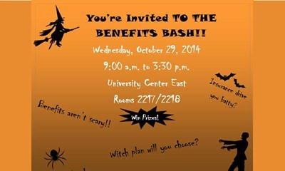 "The Benefits Bash will take place from 9 a.m. to 3:30 p.m., Wednesday, October 29 in the University Center East, rooms 2217 and 2218. <a href=""http://www.usi.edu/news/releases/2014/10/human-resources-benefits-bash-proves-benefits-dont-have-to-be-scary""><span style=""color:#FF0000"">Read more.</a>"