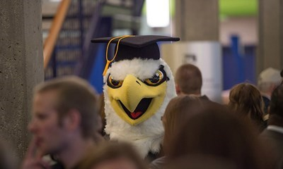 "Archie the Eagle at the 2014 Fall Commencement. <a href=""http://www.usi.edu/usitoday/campus-snapshots/""><span style=""color:#FF0000"">See more USI graduates.</a>"