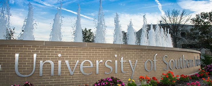 University of Southern Indiana water fountain at the roundabout