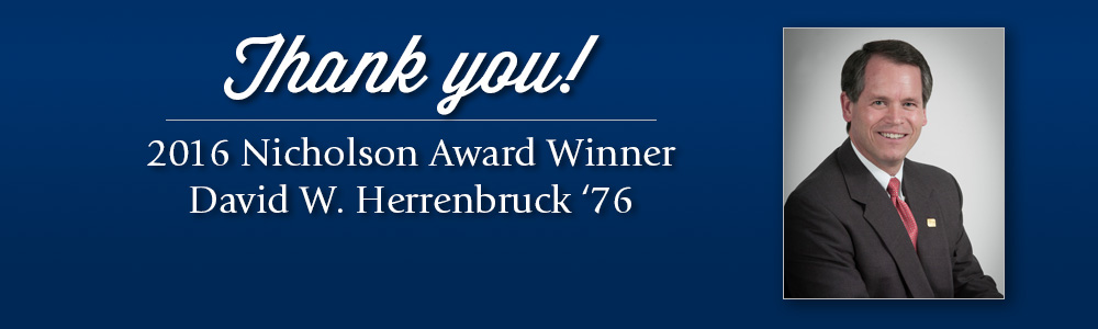 USI Foundation honors David Herrenbruck with Nicholson Award