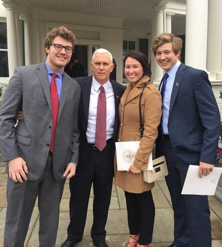 student with Vice President Pence