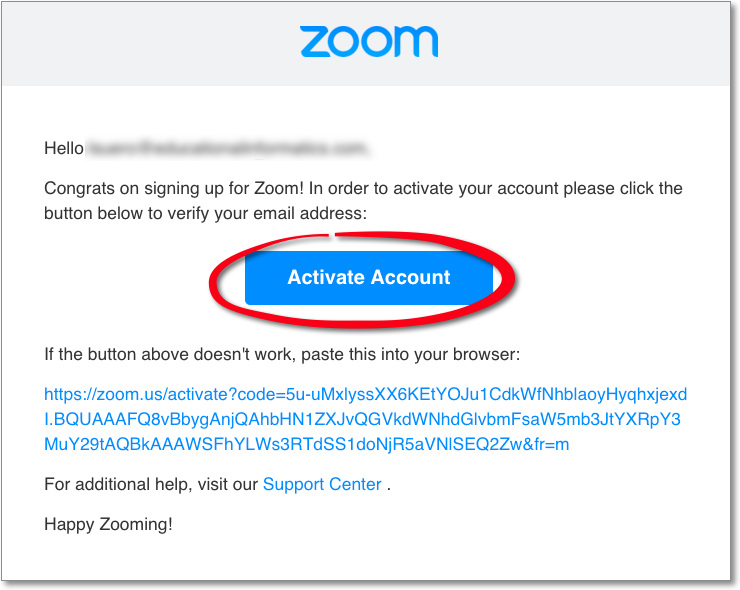 Zoom Registration Email