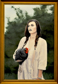 Portrait of Chicken with Woman by Justin Cecil