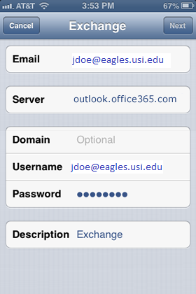 Email exchange settings