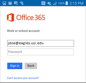 Office 365 Android login screen