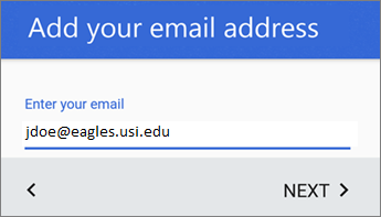 Add your email address screen