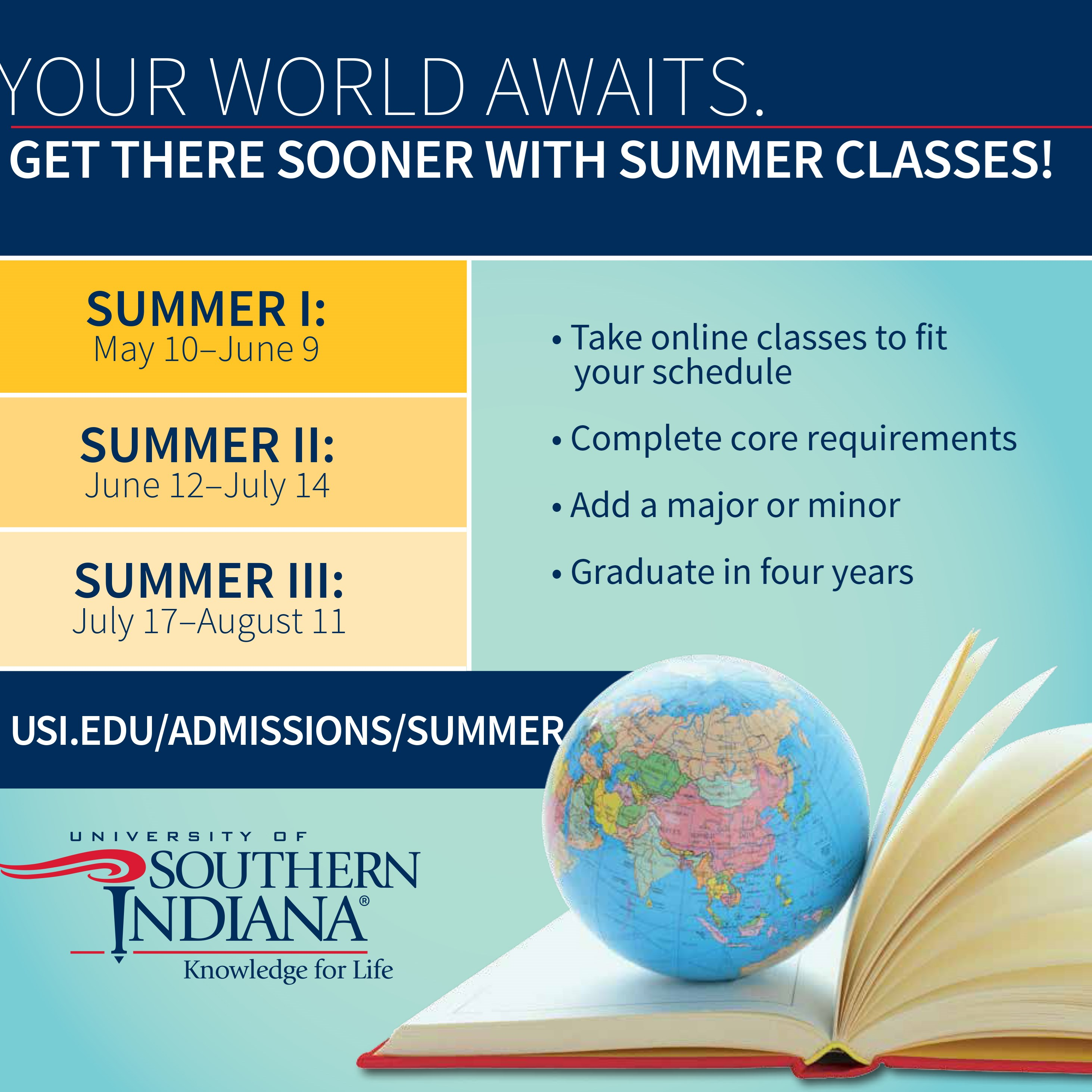 Students from USI, other universities, invited to take advantage of USI's summer terms
