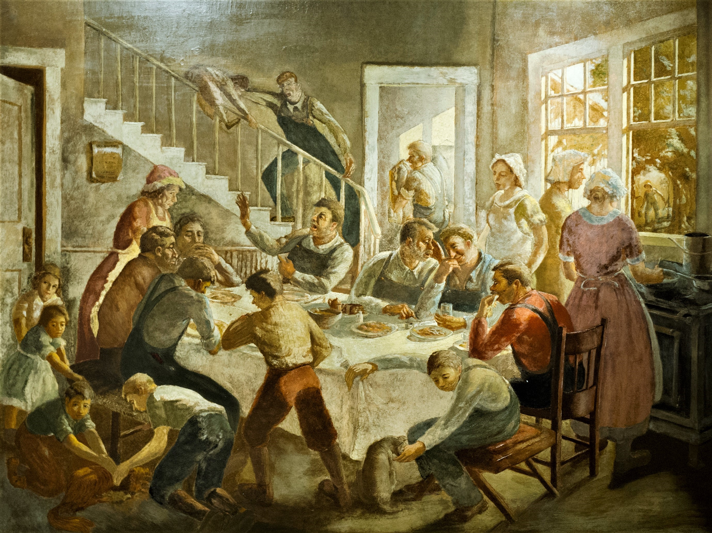 Harry Davis painting of a dinner feast