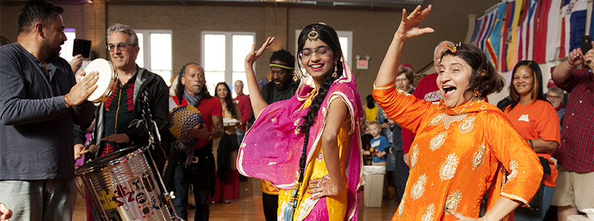 Indian women dancing at the Global Crossroads Multicultural festival