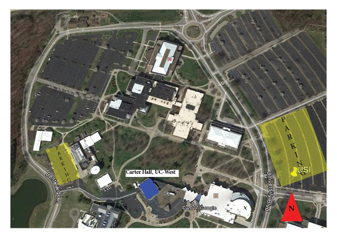 Campus map with parking information