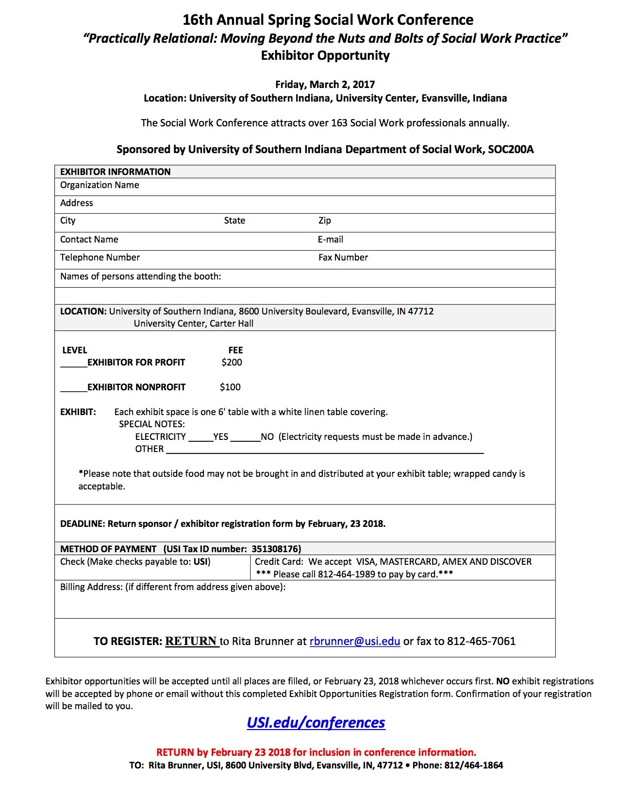 Social Work Conference Exhibitor form