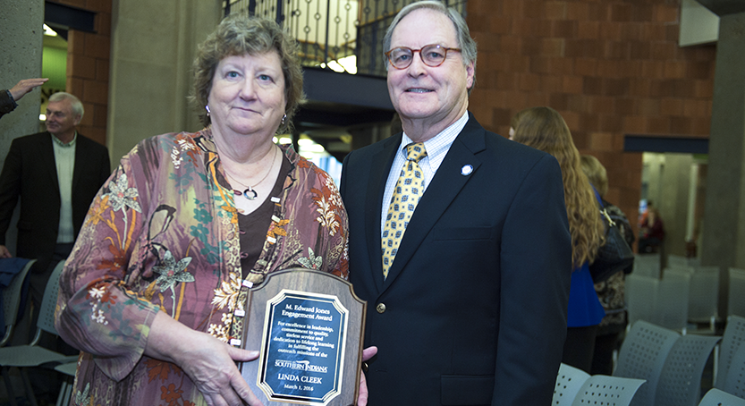 Linda Cleek and Ed Jones with the M. Edward Jones Engagement Award