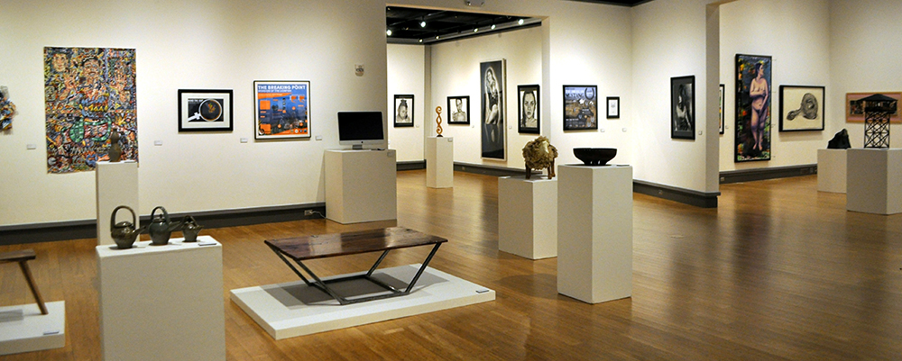 View of art displayed in gallery for 2017 Senior Seminar show