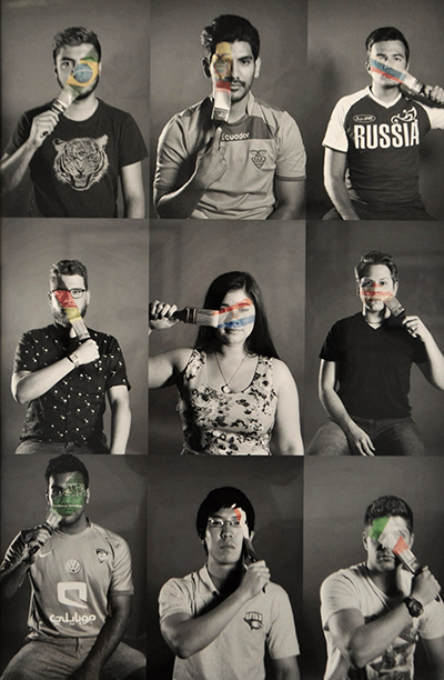 Pictures of various people using paintbrush to either add or remove flag from their face