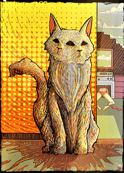 Cat illustration with two faces, figure in background