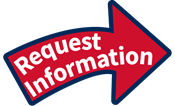 "Red arrow with blue outline with white text that says ""Request Information"""