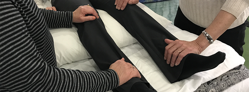 Healing Touch professionals working on the legs