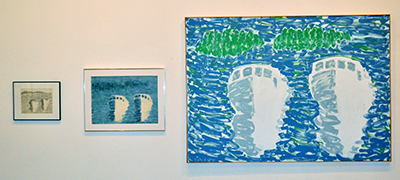 Three pieces, first a small sketch, framed, then a small painting, then a larger painting of the two lobsterboats, white with blue and greenish background