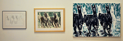 Three pieces: all of six horses an abstract depiction of 3 black horses running with three white horses running behind them over a blue background-- first is a framed sketch, second is a small painting, then last is a larger painting