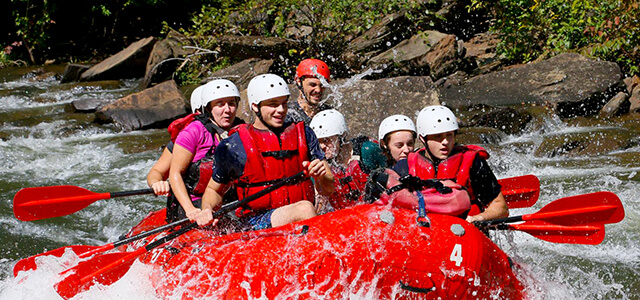 Students white water rafting