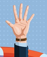 Illustration of hand spread out and pointing up with watch and suit visible on wrist. Appears to be a lifesaver surrounding the arm.