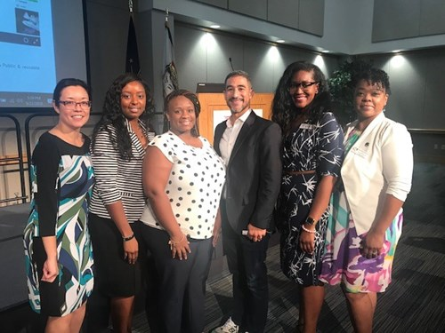 "A picture of our members who presented at the Black and Brown Summit on September 21 at USI. The panel was titled: ""The Impact of Membership on your life long Success."" I am told the panel generated great student interest in WOCA."