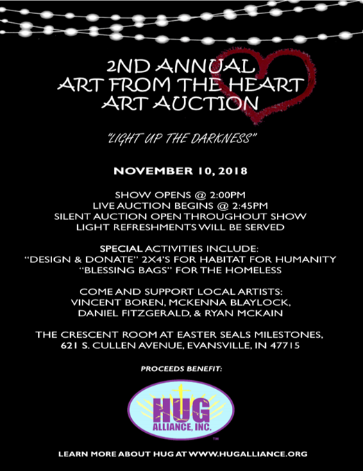 Art from the Heart Art Auction to benefit Hug Alliance Inc.