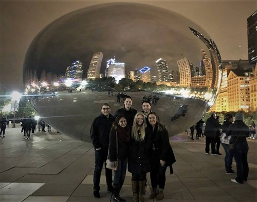 USI students meet other Beta Gamma Sigma attendees to explore the sights in downtown Chicago, IL