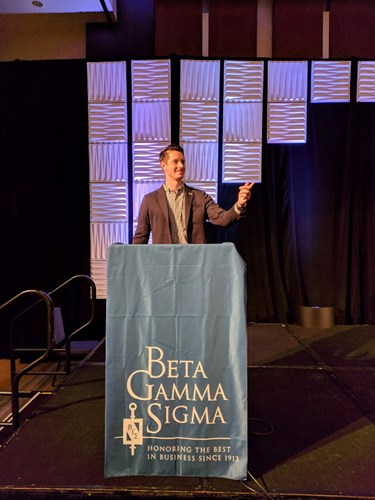USI MBA student Andrew McGuire at the third annual Beta Gamma Sigma Global Leadership Conference in Chicago, IL