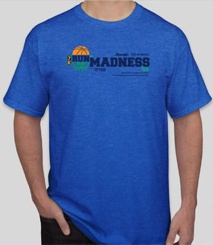 7k Run for Madness blue t-shirt
