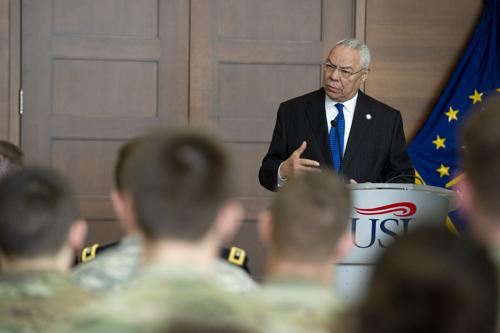 Powell with USI ROTC