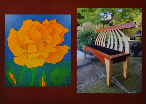image of a flower painting and a wooden bench