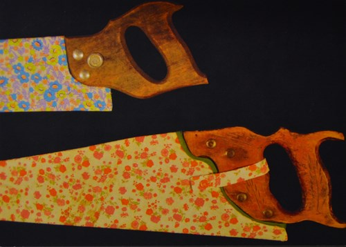 image of two floral painted saws