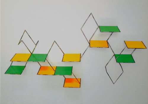 metal shelf construct with yellow and green pannels