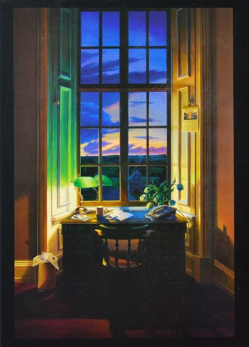 painting of a lamp on a desk near a window as the sun sets