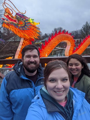 Shelby and Joshua Jackson with Isabel Barba at the Louisville Zoo's Wild Lights Asian Lantern Festival