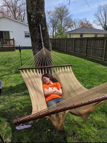 Isabel Barba relaxes in a hammock at Shelby Jackson's home